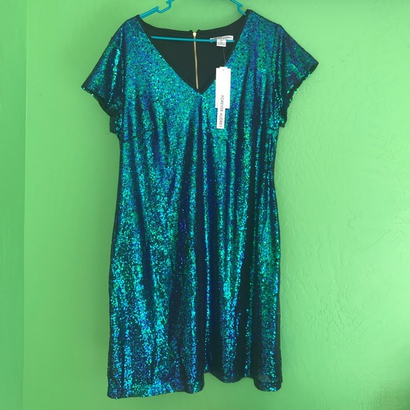 forever audrey Dresses & Skirts - NWT Teal Blue Sequin mini dress 16w plus 16
